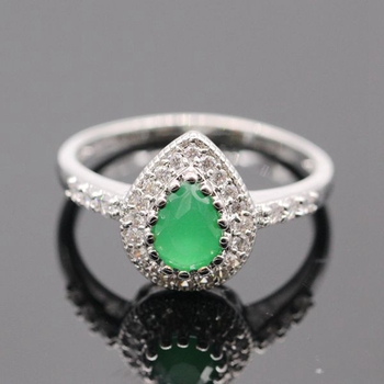 GZJY Fashion WhiteGold Color Red & Green Zircon Finger Rings Elegant Brand Jewelry CZ Austrian Crystal For Women 2colors