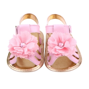 Stylish pu leather flower baby pure color baby girls shoes hook and loop outdoor soft shoes