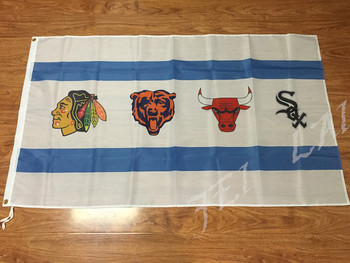 Chicago Blackhawks Chicago Bears Chicago Bulls Chicago White Sox Bayrak 3ft x 5ft Polyester 2 Metal Grommets ile Afiş