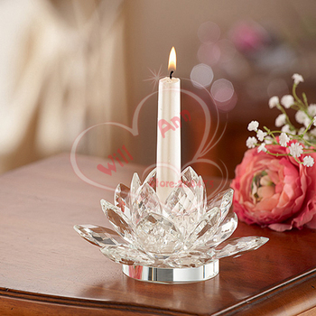 Wedding Crystal Glass Candle Holder Lotus Romantic Centerpiece Home Art Decor Gifts