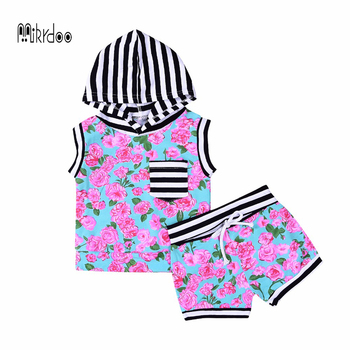 Mikrdoo Baby Fashion Clothes Suit Kids Girl's Hot Colorful Flowers Set Cotton Striped Hoodies Pocket 2pcs Clothing Newborn Sets