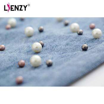 LIENZY Autumn Beadings BF Women Jeans High Waisted Ripped Leg Jean Moustache Effect Denim Pants Female Bottom